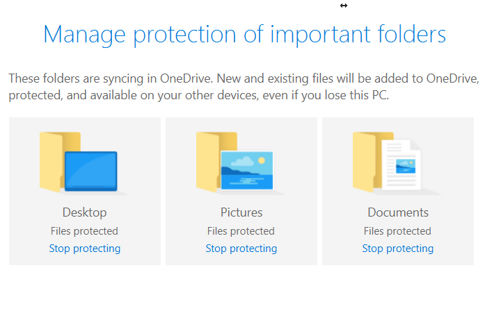 OneDrive Folder Protection Status