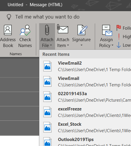 Outlook 2019 Attach File Feature