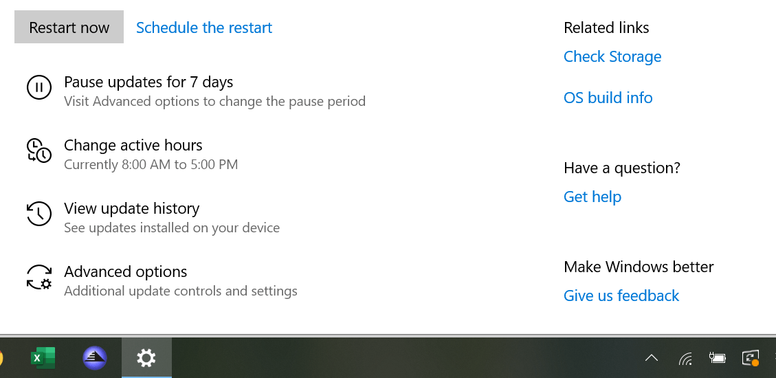 Microsoft Update restart - new screen for May 2019 Update