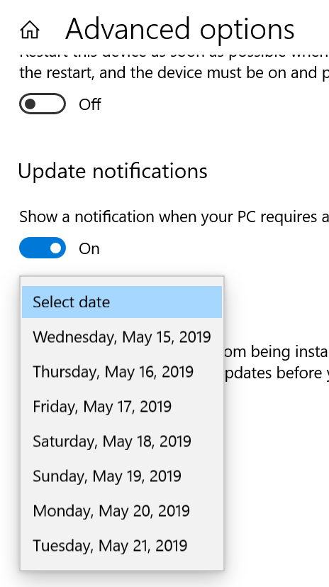 Microsoft Update restart - new screen for May 2019-select date to update