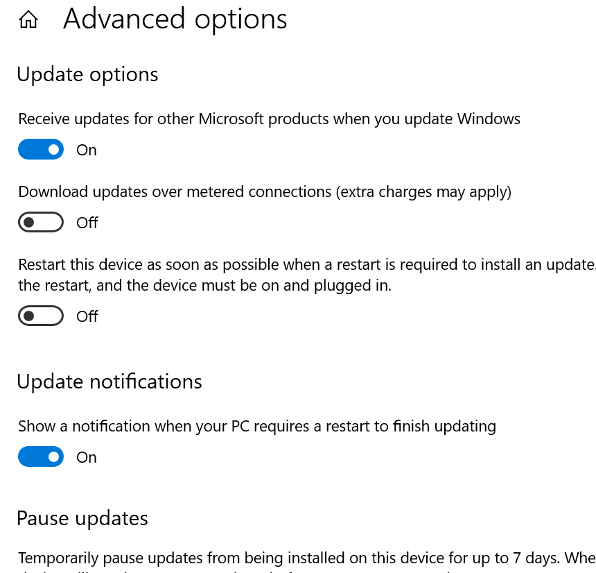 Advanced Restart screen for Windows 10 May update