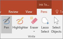 Shows the Pen button in Ink Tools in Office