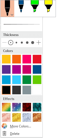 Color and thickness options for a pen in the Office pen gallery on the Draw tab