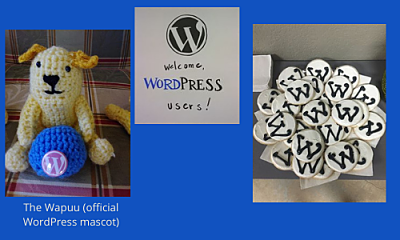 Crocheted wapuu on the left and real WordPress decorated cookies on the right